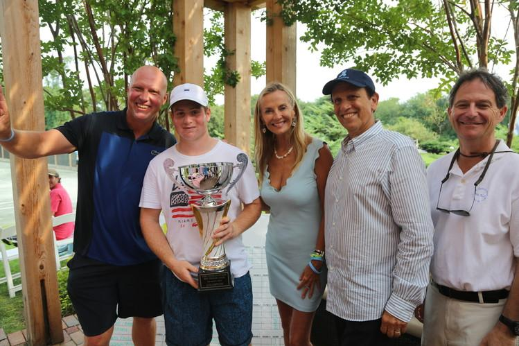 Luke Jensen, Jesse Lee, Bonnie Peifer Evans, Michael Milken and Dr. Jonathan Simons at the Charles Evans PCF Pro-Am Tennis Tournament finals at Shinnecock Tennis Club. PHOTO: JOHNNY NUNEZ/WIREIMAGE